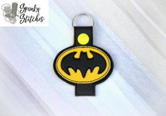 Batman Pencil holder key fob in the hoop embroidery file by spunky stitches