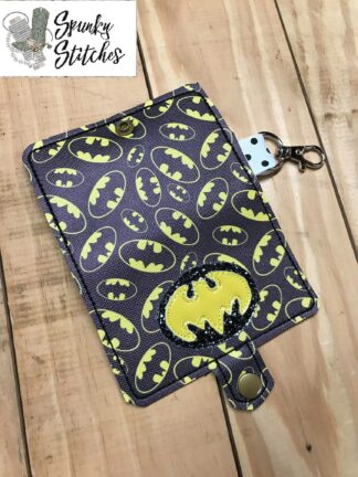 batman mini wallet in the hoop embroidery file by spunky stitches