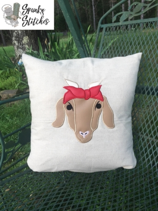 Goat Applique in 4 sizes embroidery file by Spunky Stitches.
