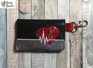 Heartbeat with stethescope mini wallet key fob in the hoop embroidery file by spunky stitches