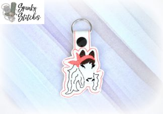 Horse with Bandana key fob in the hoop embroidery file by spunky stitches