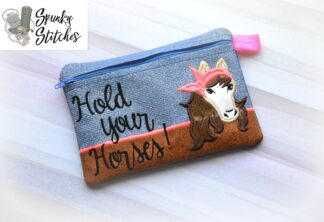 horse with bandana zipper bag hand sanitizer holder key fob in the hoop embroidery file by spunky stitches