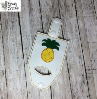 pineapple handsanitizer case key fob in the hoop embroidery file by spunky stitches