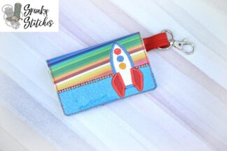 Rocket mini wallet key fob in the hoop embroidery file by spunky stitches
