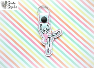 ballerina key fob in the hoop embroidery design by spunky stitches
