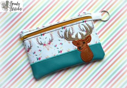buck zipper bag in the hoop embroidery file by spunkystitches