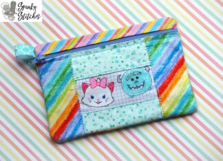 center rectangle patchwork zipper bag in the hoop embroidery file by spunkystitches