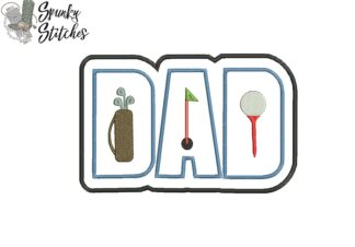 dad golf applique embroidery file by spunkystitches