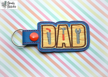 Dad tool key fob in the hoop embroidery file by spunkystitches