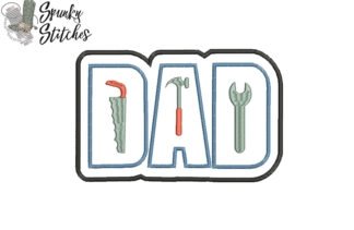 dad tool applique embroidery file by spunkystitches