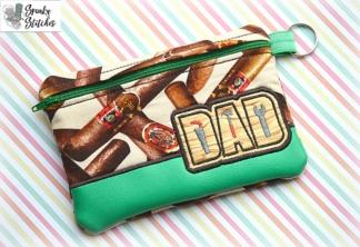 Dad tool zipper bag in the hoop embroidery file by spunkystitches