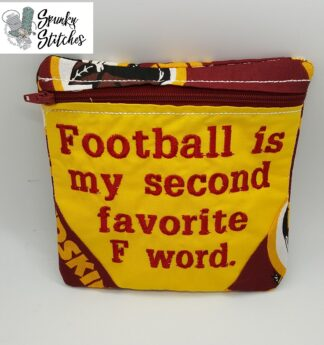 football zipper bag in the hoop embroidery file by spunky stitches.