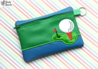 golf tee zipper bag in the hoop embroidery design by spunky stitches