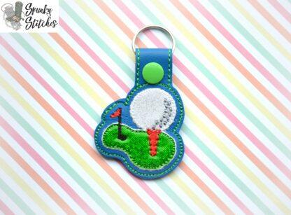 golf tee key fob in the hoop embroidery design by spunky stitches