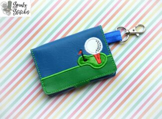 golf tee mini wallet key fob in the hoop embroidery design by spunky stitches