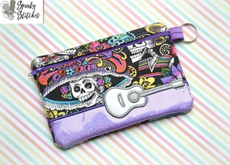 guitar zipper bag in the hoop applique embroidery file by spunkystitches
