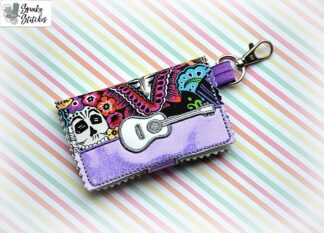 guitar mini walletl key fob in the hoop embroidery file by spunkystitches