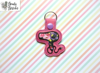 hair dryer key fob in the hoop embroidery design by spunky stitches