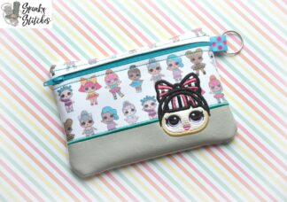 lol bun bow zipper bag in the hoop embroidery file by spunkystitches