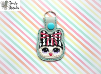 Lol Doll Bun Bow Key fob in the hoop embroidery file by spunkystitches