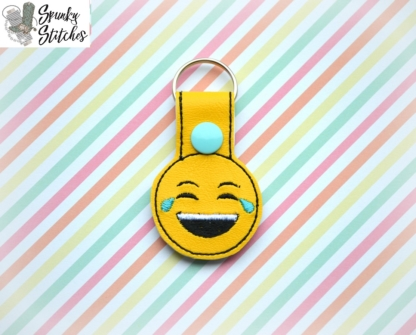 lol emoji key fob in the hoop embroidery file by spunkystitches