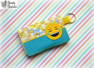lol emoji mini wallet key fob in the hoop embroidery file by spunkystitches
