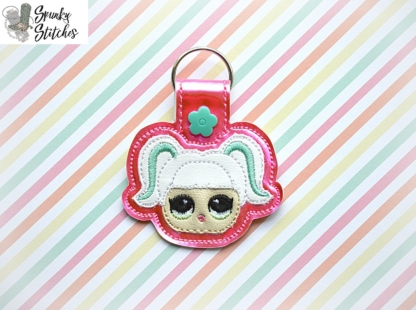 lol pigtail key fob in the hoop embroidery file by spunkystitches