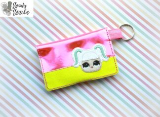 lol pigtail mini wallet key fob in the hoop embroidery file by spunkystitches