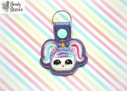 unicorn doll key fob in the hoop embroidery design by spunky stitches