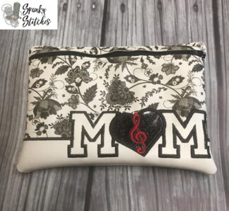 music mom zipper bag in the hoop embroidery file by spunkystitches