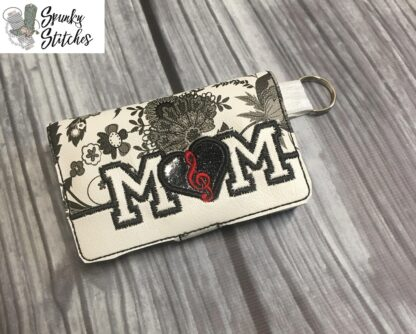 music mom mini wallet key fob in the hoop embroidery file by spunkystitches