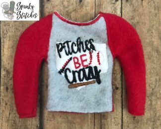 Pitches be crazy Elf shirt in the hoop embroidery file by spunkystitches
