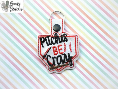 pitches be crazy key fob in the hoop embroidery design by spunky stitches