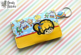 rainbow brite mini wallet Key fob in the hoop embroidery file by spunkystitches