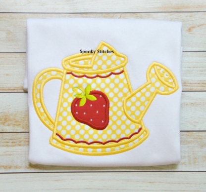 strawberry wattering can applique embroidery design by spunky stitches