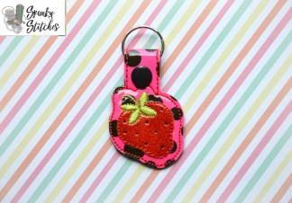 strawberry key fob in the hoop embroidery design by spunky stitches