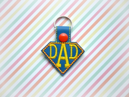 super dad key fob in the hoop embroidery file by spunkystitches