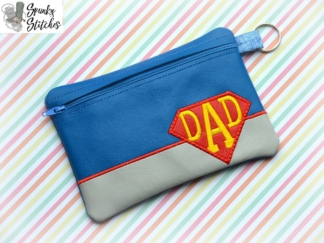 super dad zipper bag in the hoop embroidery file by spunkystitches