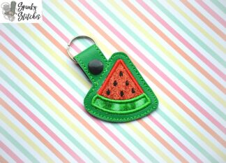 watermelon key fob in the hoop embroidery design by spunky stitches