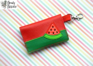 watermelon mini wallet key fob in the hoop embroidery design by spunky stitches