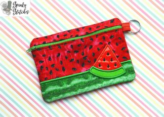 watermelon zipper bag in the hoop embroidery design by spunky stitches