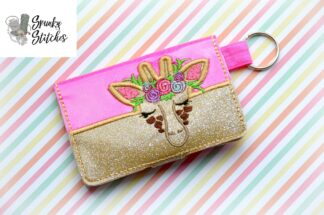 giraffe with flowers mini wallet key fob in the hoop embroidery file by spunkystitches