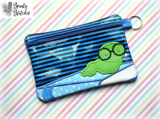 book worm zipper bag in the hoop embroidery file by spunky stitches