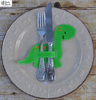 dino silverware holder in the hoop embroidery file by spunky stitches