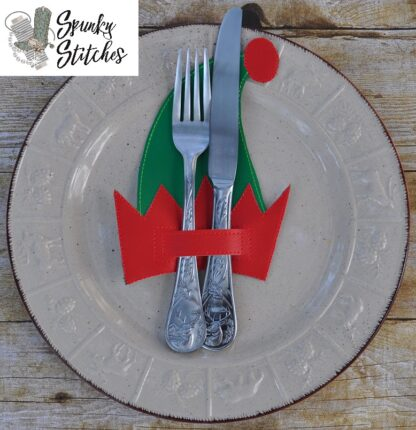 Elf hat silverware holder in the hoop embroidery file by spunky stitches