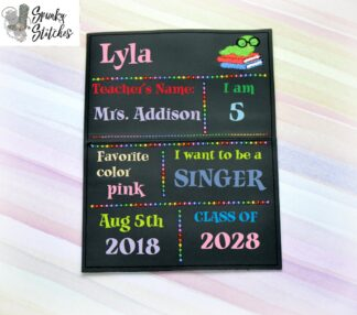 first day of school chalk board sign in the hoop embroidery file by spunky stitches