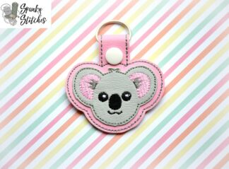 koala key fob in the hoop embroidery file by spunky stitches