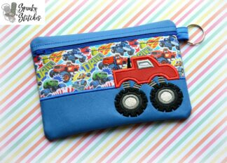 monster truck zipper bag in the hoop embroidery file by spunky stitches