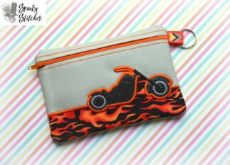 motorcycle zipper bag in the hoop embroidery file by spunky stitches