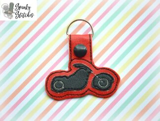motorcycle key fob in the hoop embroidery file by spunky stitches